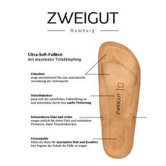 ZWEIGUT® -Hamburg- luftig #550 Pantolette Damen Sandale Leder-Komfort-Fußbett Sommer Schuhe 2er-Riemen – Bild 8