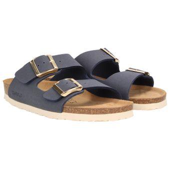 ZWEIGUT® -Hamburg- luftig #550 Pantolette Damen Sandale Leder-Komfort-Fußbett Sommer Schuhe 2er-Riemen 001