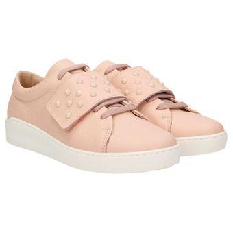 komood 335 Damen Leder Sneaker Sommer Schuhe Schnürer Klett Leicht Pastell Freizeit, Schuhgröße:42, Farbe:Rosa ZWEIGUT