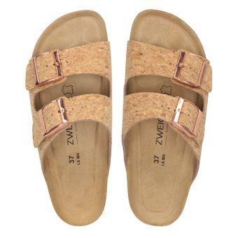 ZWEIGUT® -Hamburg- luftig #550 Sandale Damen Pantolette Leder Komfort Fußbett Sommer Schuhe 2er-Riemen – Bild 6