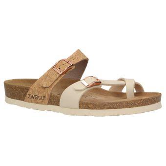 ZWEIGUT® -Hamburg- luftig #553 Sandale Damen Pantolette Leder Komfort Fußbett Sommer Schuhe 3er-Riemen – Bild 2