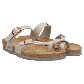 ZWEIGUT® -Hamburg- luftig #553 Sandale Damen Pantolette Leder Komfort Fußbett Sommer Schuhe 3er-Riemen 001