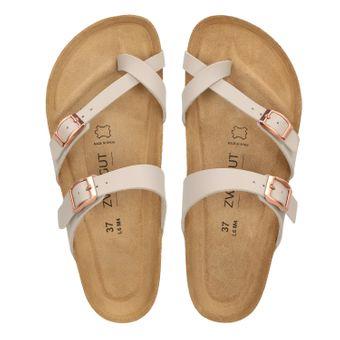 ZWEIGUT® -Hamburg- luftig #553 Sandale Damen Pantolette Leder Komfort Fußbett Sommer Schuhe 3er-Riemen – Bild 6