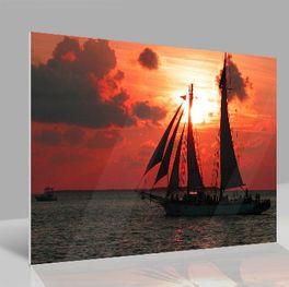 Glasbild Sea Sunset