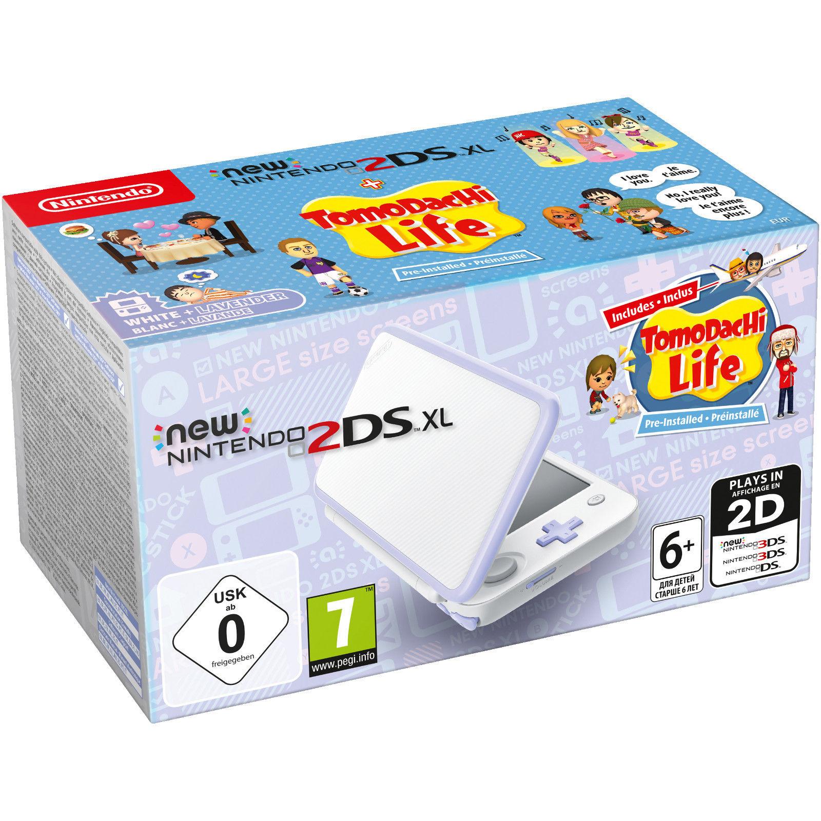 Nintendo New Nintendo 2DS XL Spielekonsole + Tomodachi Life weiß/lavendel