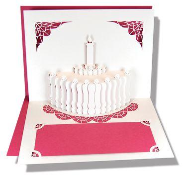 Pop-Up Karte Geburtstagstorte pink