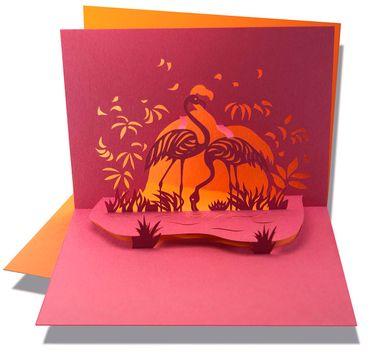 Pop-Up Karte Flamingo