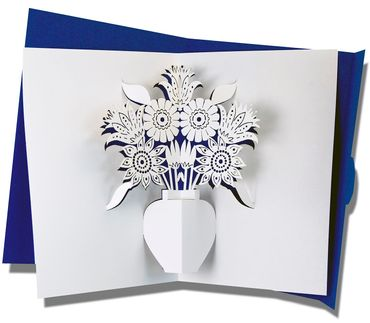 Mini Pop-Up Karte Blumen royalblau