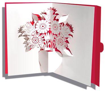 Mini Pop-Up Karte Blumen rot