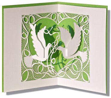Pop-Up Karte Tauben grün