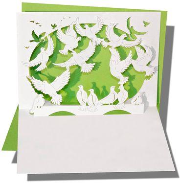 Pop-Up Karte Taubenschwarm grün