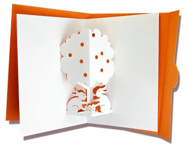 Mini Pop-Up Karte Hasen orange