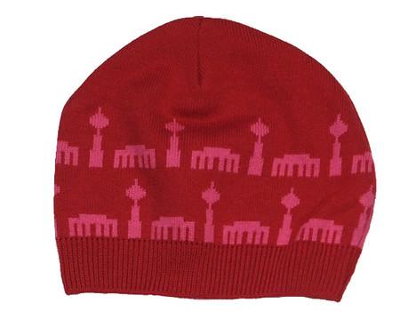 Kindermütze Berlinermuster rot/pink
