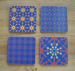 4x Coasters/Untersetzer mit Berlinmuster Blume dunkel blau 001