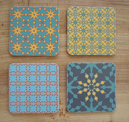 4x Coasters/Untersetzer mit Berlinmuster Blume bunte mix