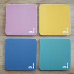 4x Coasters/Untersetzer mit Berlinmuster bunte mix 001