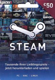Steam Guthaben Karte - Wert 50 Euro