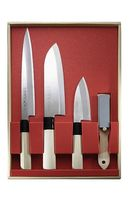 Japanisches Kochmesser-Set, 3 Messer und Abziehstein