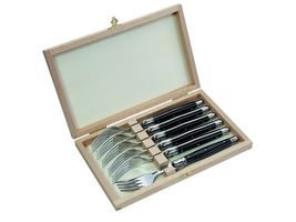 Laguiole Steakgabel-Satz, Kunststoff Griffschalen, schwarz, Holzbox mit 6 Gabeln