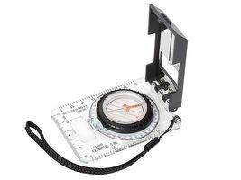 Herbertz-Plattenkompass, flüssigkeitsgedämpfte Kapsel, 360 Grad Einteilung, transparente Grundplatte, Speziallupe