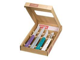 Opinel Küchenmesser-Set, Essentials, 4-teilig, rostfrei, farbige Buchenholzgriffe,