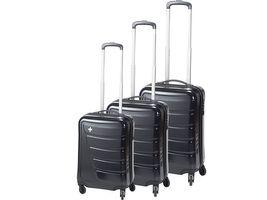 Swiza Kofferset Justus, schwarz, Hartschalenkoffer, 4 Räder, Einzelkoffer 35, 60 und 105 Liter