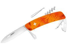 SWIZA Suisse Canif D03 CAMO Fougère Orange, antidérapante, 11 Caractéristiques