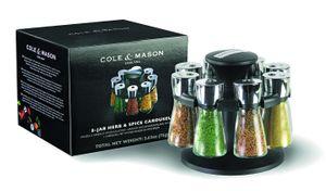 Cole & Mason Hudson Kräuter & Gewürze 8 Gläser Karussell 210mm,