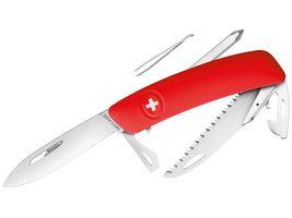 SWIZA Taschenmesser D06, Stahl 440, Sicherheitsarretierung, rote Anti-Rutsch-Griffschalen, Säge, weitere 10 Funktionen