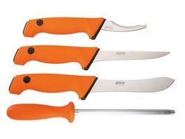 EKA Butcher Set, 4-teilig, Sandvik-Stahl 12C27, rostfrei, orangefarbene Polymere-Santoprene-Griffe, Transporttasche