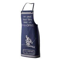 Opinel Küchenschürze für Erwachsene, blau, Baumwolle,
