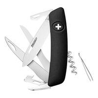 Swiza Schweizer Messer D07, Scissors, Stahl 440, Schere, Klingensperre, Schwarze Anti-Rutsch-Schalen, 12 Funktionen