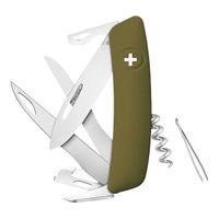 Swiza Schweizer Messer D07, Scissors, Stahl 440, Schere, Klingensperre, Olivfarbener Anti-Rutsch-Griff, 12 Funktionen