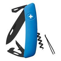 Swiza Schweizer Messer D03 ALL Black BLAU, Stahl 440, PVD, PTFE-Beschichtung, blaue Anti-Rutsch-Griffschalen