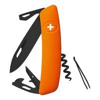 Swiza Schweizer Messer D03 ALL Black ORANGE, Stahl 440, PVD, PTFE-Beschichtung, orangefarbene Anti-Rutschgriffschalen