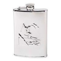 Herbertz TaschenFlasche, Edelstahl, 237 ml, spiegelpoliert, Skifahrer-Motiv, gesicherter Schraubverschluss