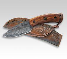 Linder Croco Damascus 21, 200 Lagen Palisander, Lederscheide, 9cm