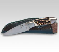 Linder Jagdmesser , 8Cr13Mov, Hirschhorn, Lederscheide 8cm
