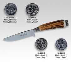 Linder Trachtenmesser, Motiv Eichenlaub, Löwen -Kappe, 10 cm