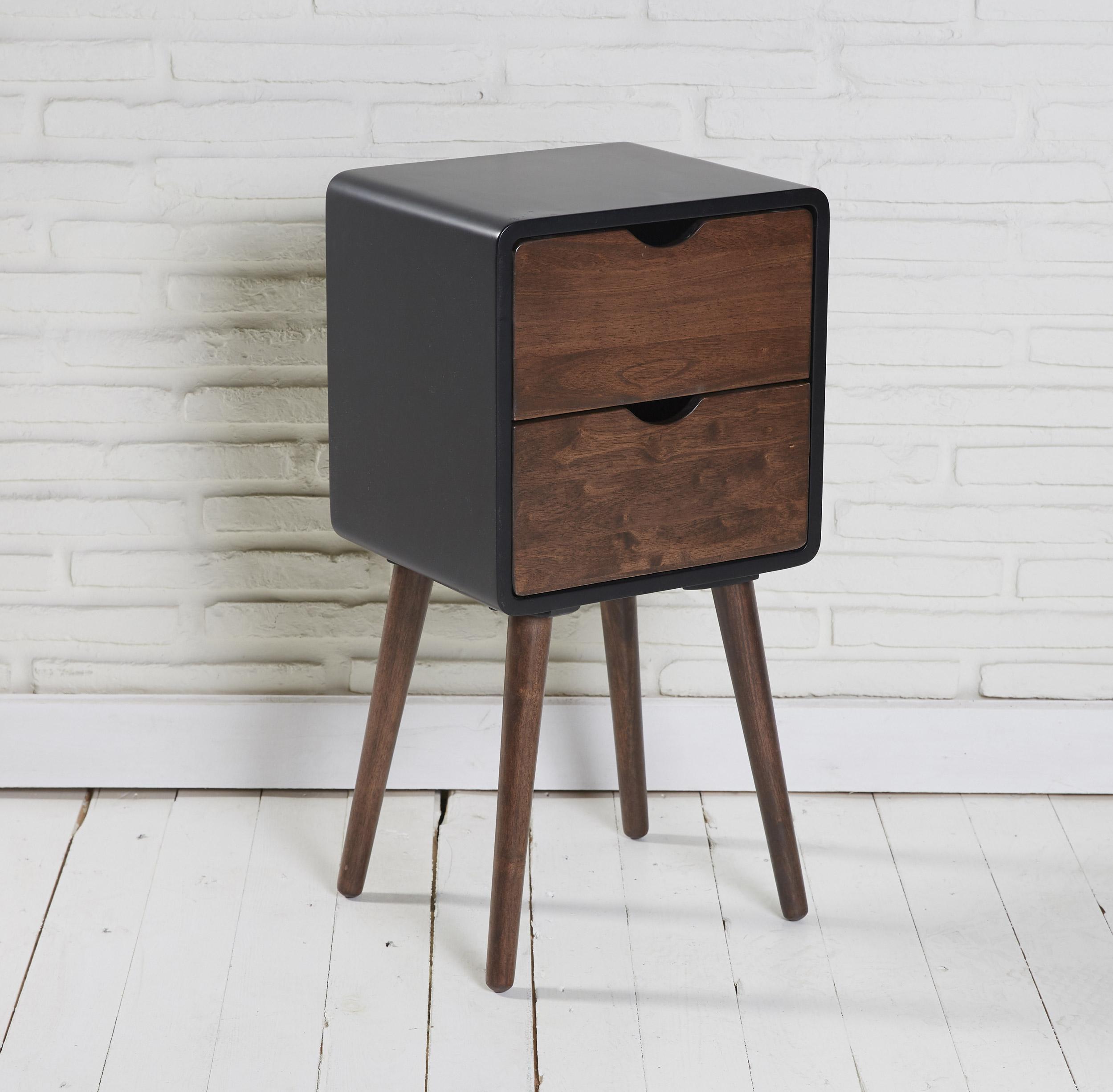 nachttisch beistelltisch telefontisch 2 schubladen holz schwarz nussbaumoptik ebay. Black Bedroom Furniture Sets. Home Design Ideas