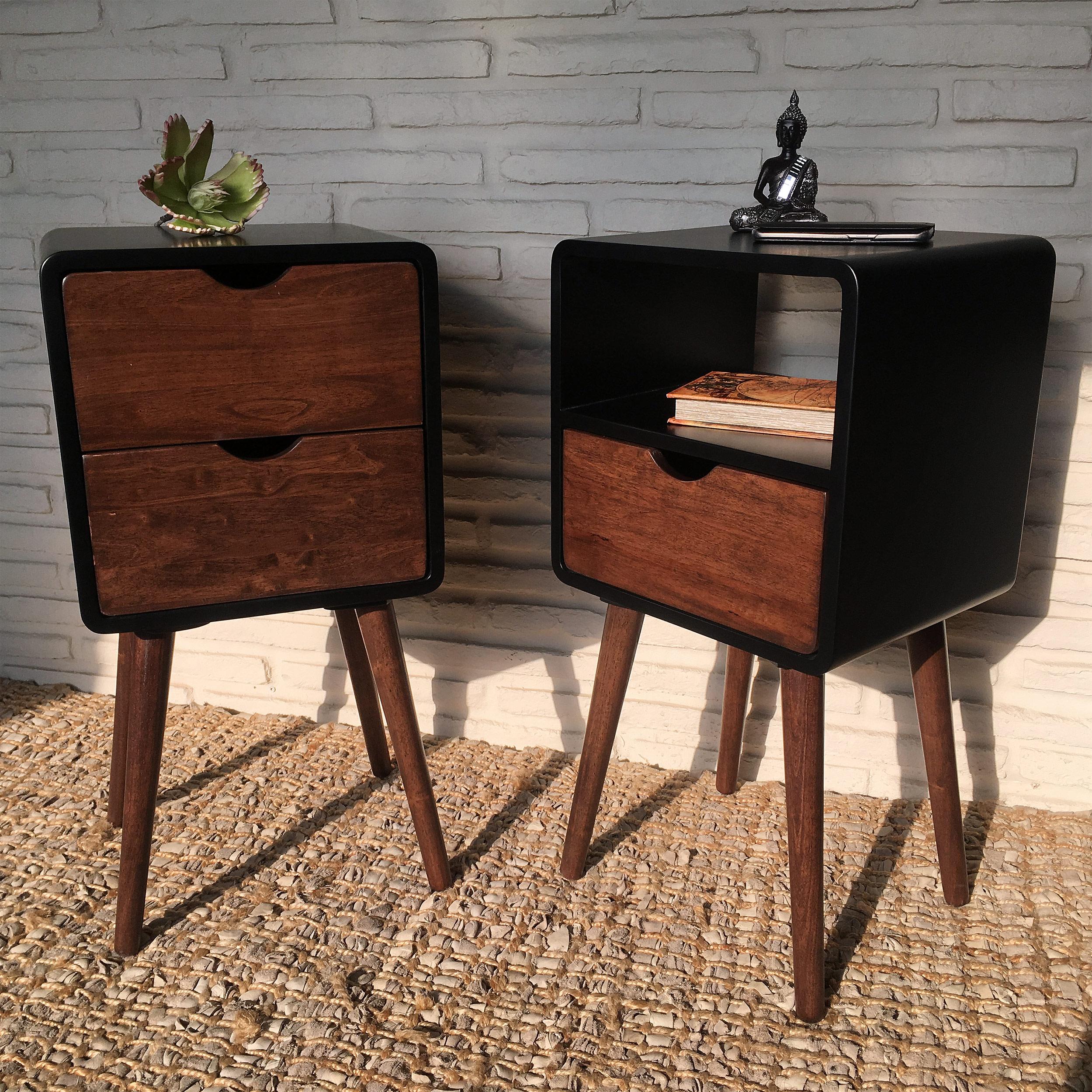 2x nachttisch beistelltisch telefontisch 1 2 schubladen. Black Bedroom Furniture Sets. Home Design Ideas