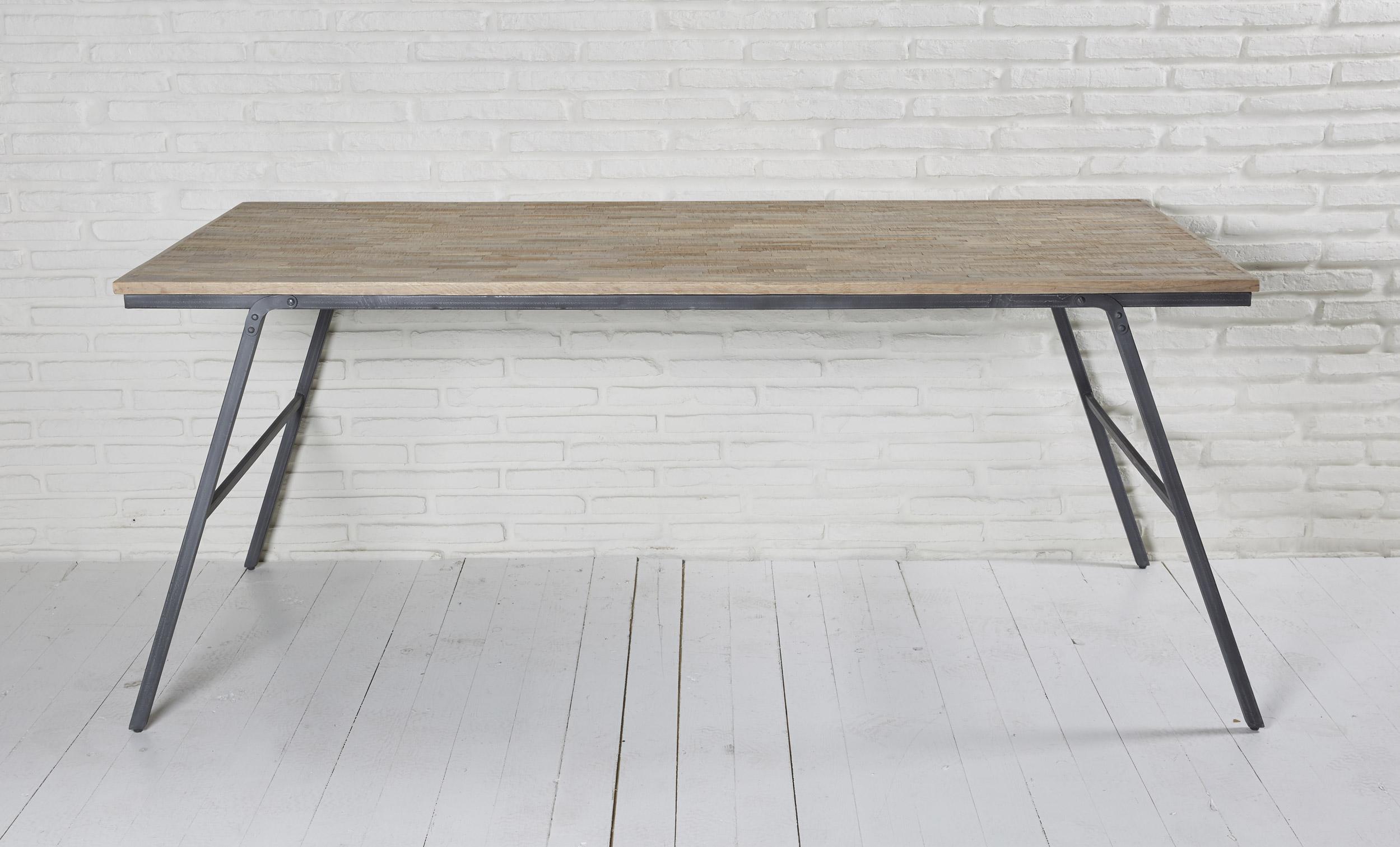 Cool Esstisch Holz Metall Dekoration Von Recycling Teak Grau 180x90x76 Cm Tisch Esszimmertisch