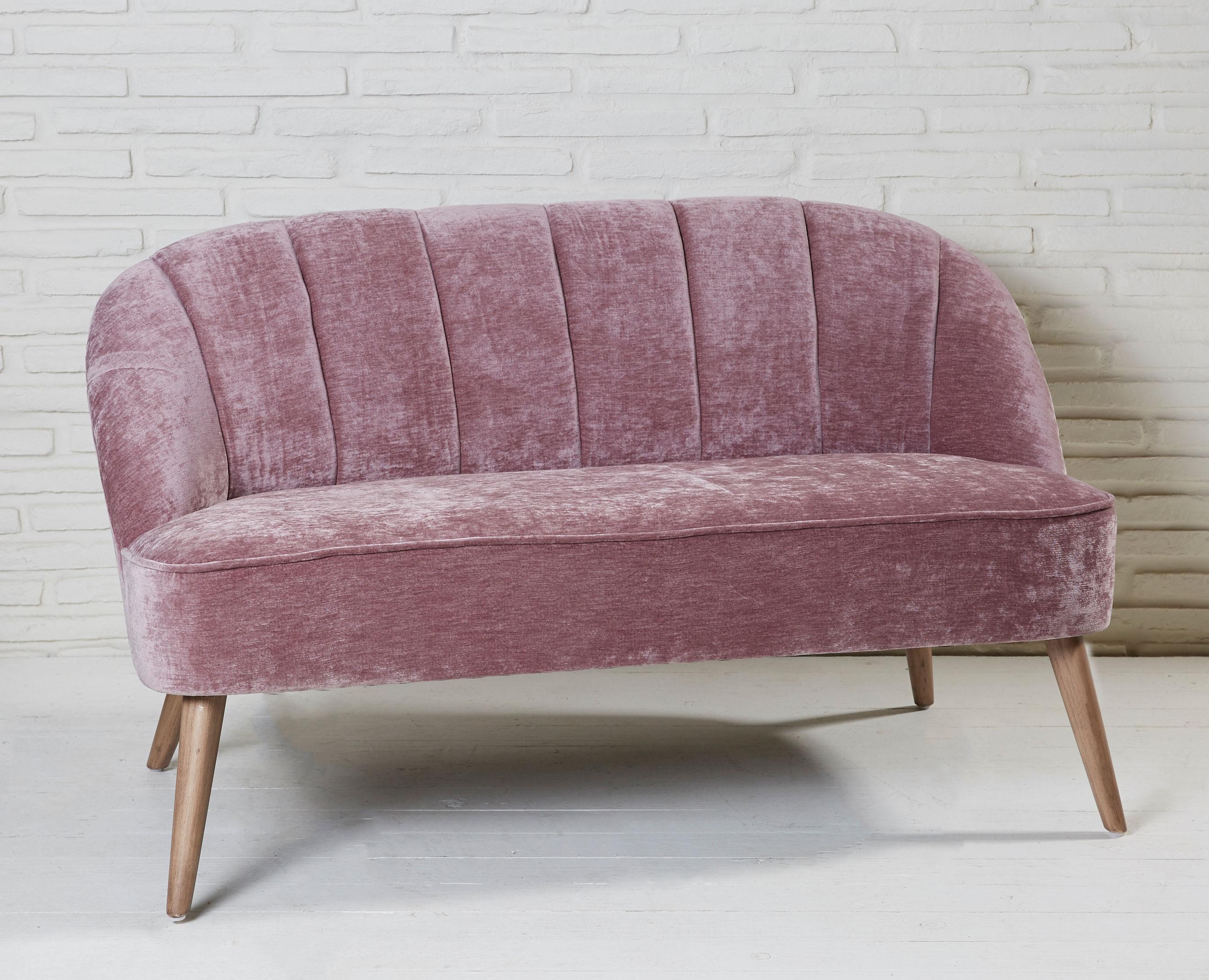 sofa polstersofa houston aus holz und stoff mit samtbezug pink ebay. Black Bedroom Furniture Sets. Home Design Ideas