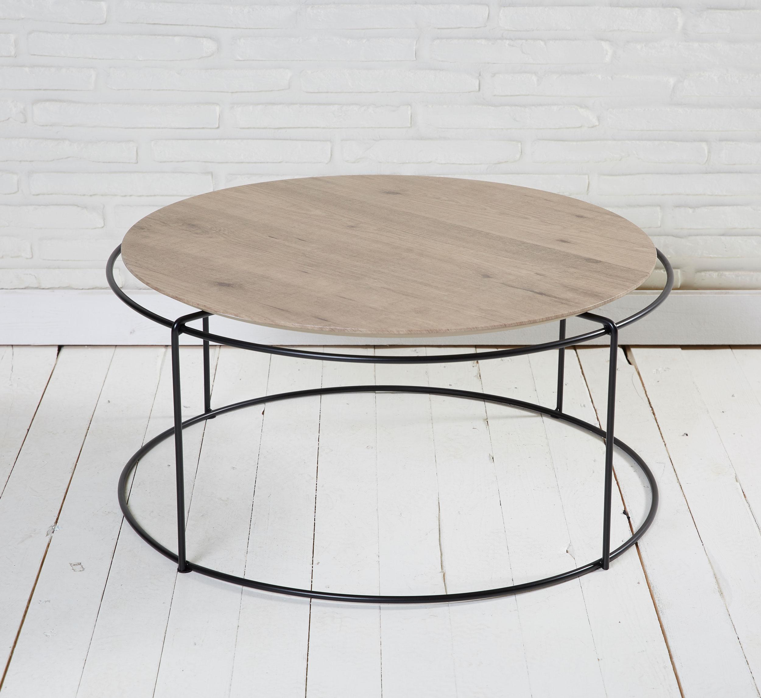 couchtisch rund metall beistelltisch natur 80x38cm ebay. Black Bedroom Furniture Sets. Home Design Ideas