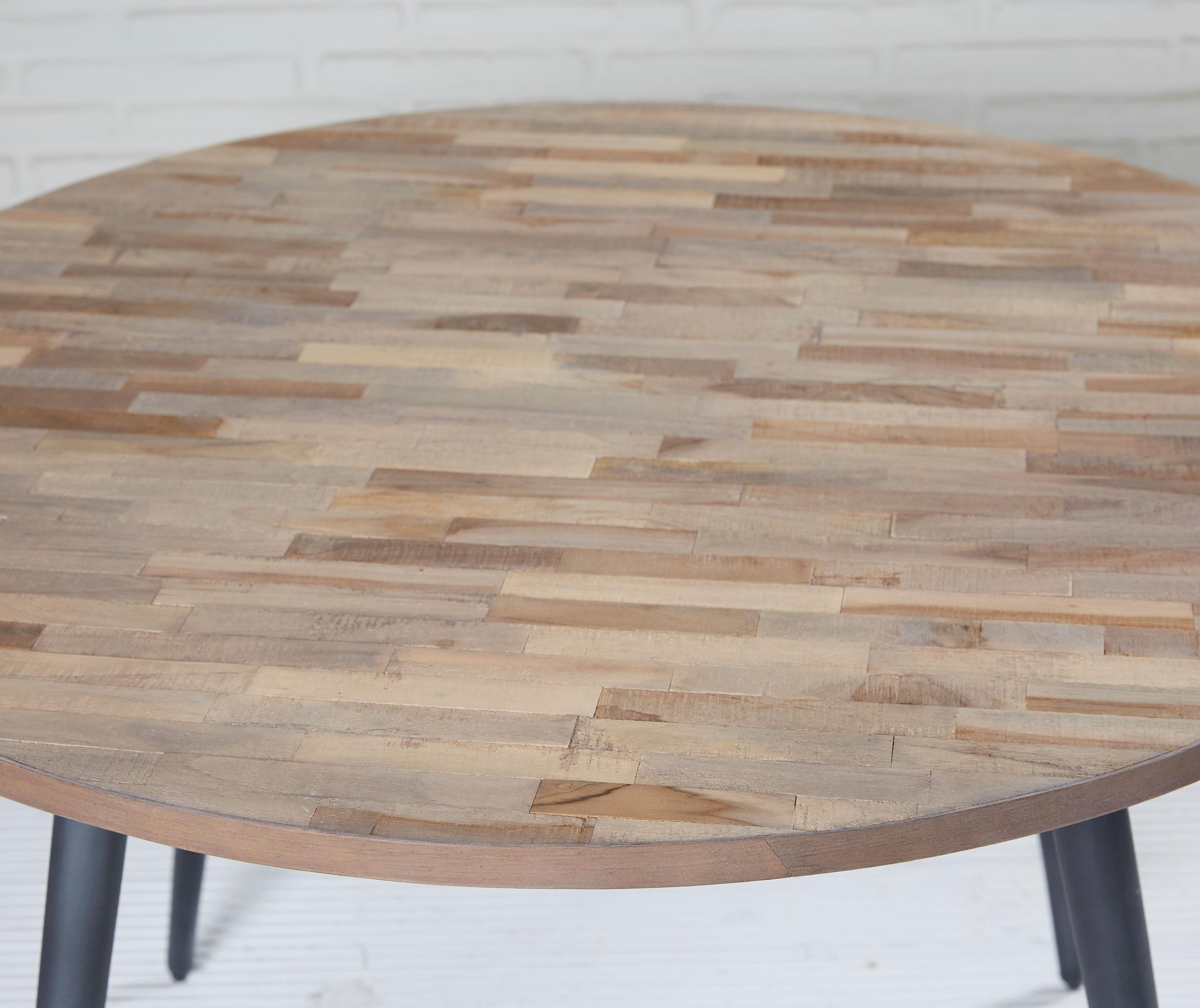 esstisch rund recycling teak grau 110x76 cm holz metall tisch esszimmertisch ebay. Black Bedroom Furniture Sets. Home Design Ideas