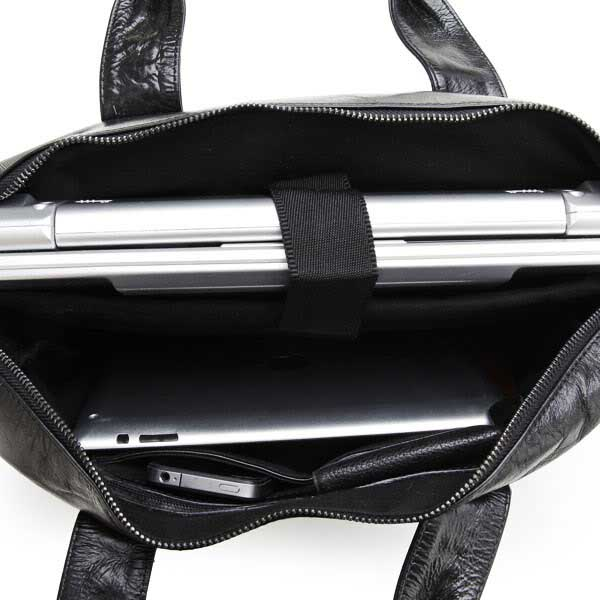 STILORD Vintage Schultertasche Herren Schwarz 13,3 Zoll Laptoptasche Business Büro Umhängetasche schwarzes Echt-Leder  - Bild 6
