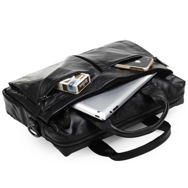 STILORD Vintage Schultertasche Herren Schwarz 13,3 Zoll Laptoptasche Business Büro Umhängetasche schwarzes Echt-Leder  - Bild 5