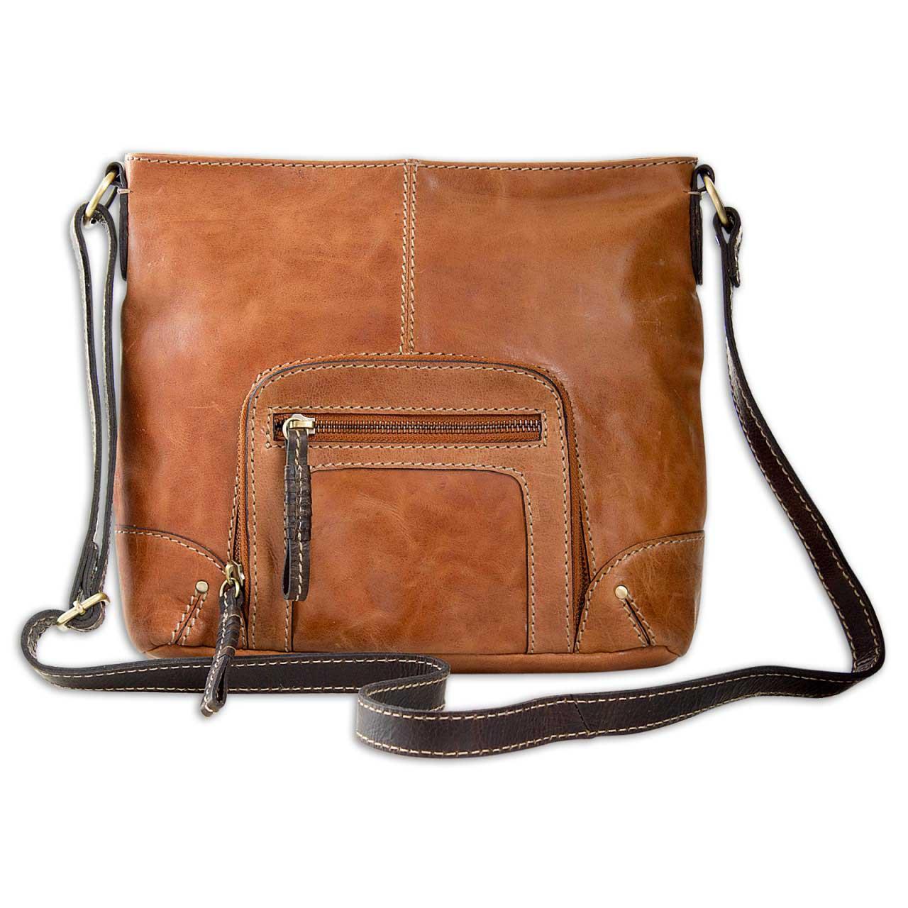STILORD kleine Vintage Damen Umhängetasche aus Leder Handtasche Schultertasche mit Schulterriemen Büffelleder braun - Bild 1