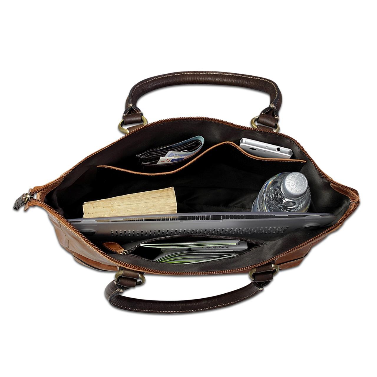 STILORD Vintage Handtasche Damen Abendtasche Henkeltasche Ausgehtasche Retro-Design aus echtem Büffel Leder braun - Bild 5
