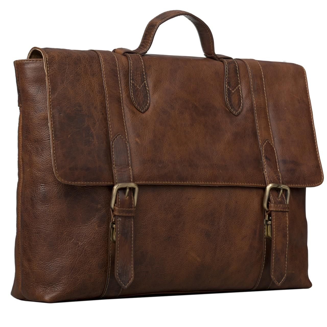 STILORD Vintage Aktentasche Herren Damen Business Tasche Retro Bürotasche Retro Arbeitstasche echtes Rinds Leder braun - Bild 1